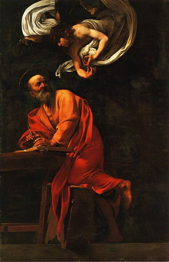 Inspiration of saint matthew 1602 - by Caravaggio