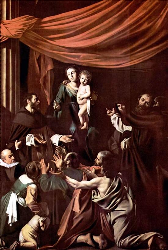 Madonna of the rosary 1607 - by Caravaggio