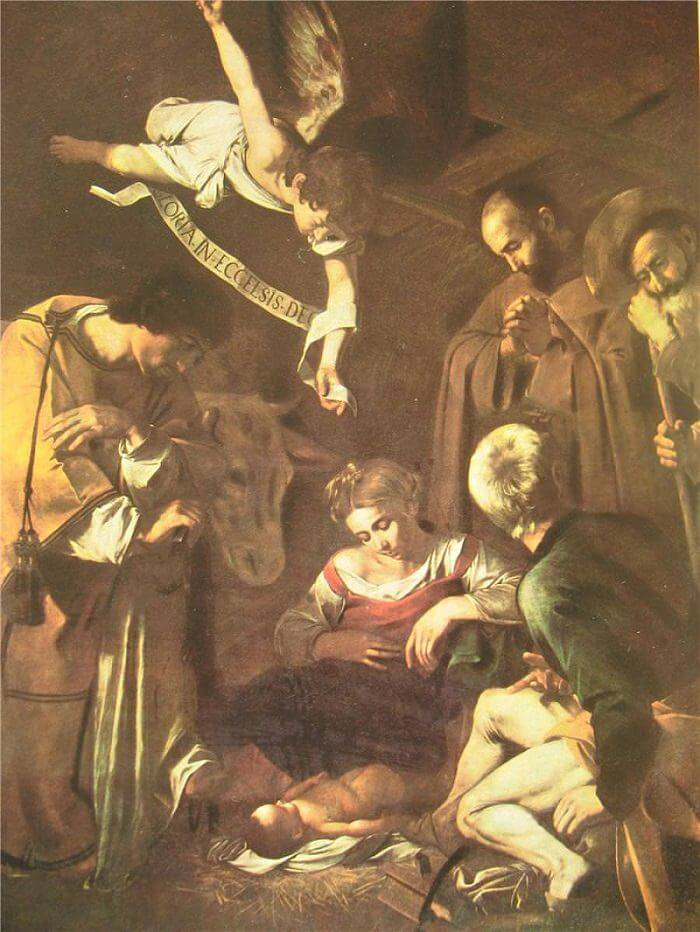 Nativity with st francis and st lawrence 1609 - by Caravaggio