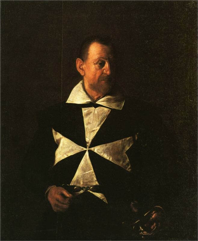 Portrait of fra antionio martelli 1608 - by Caravaggio
