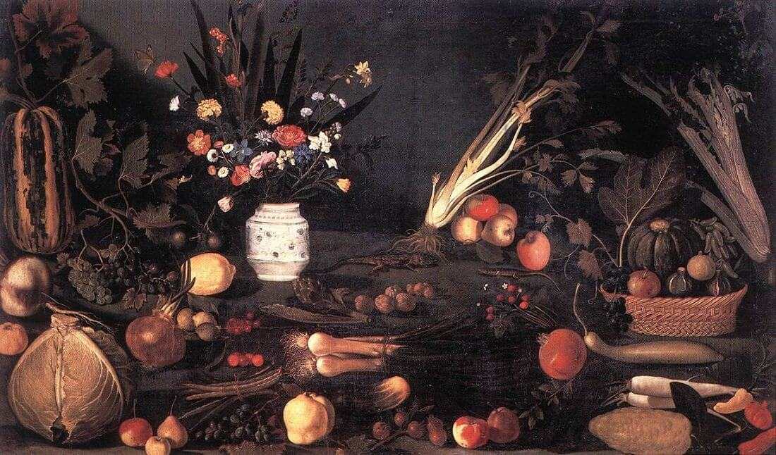 Still life with flowers and fruit 1601 - by Caravaggio