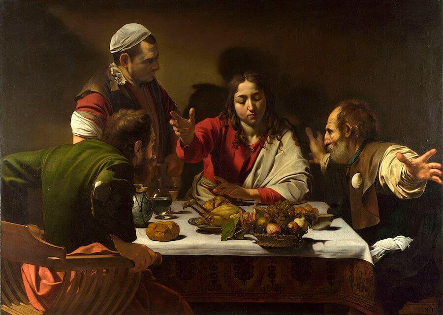 Supper at emmaus 1602 - by Caravaggio